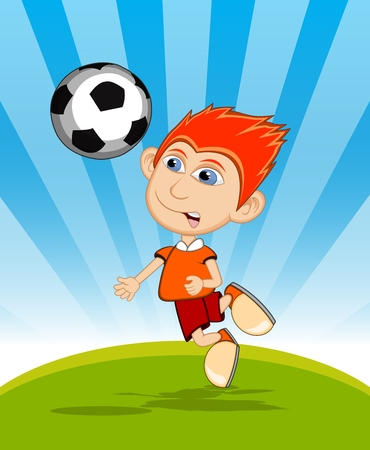 playing soccer: The boy playing soccer cartoon vector illustration