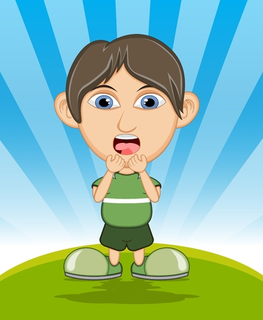 puberty: The boy surprised cartoon vector illustration