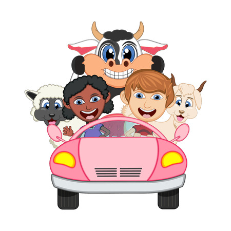 lady cow: Children driving a car with cow, goat and sheep cartoon vector illustration