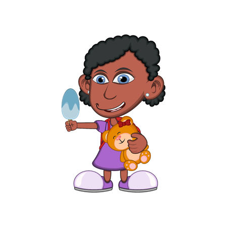 little girl eating: Little girl hugging a teddy bear and eating ice cream cartoon vector illustration Illustration