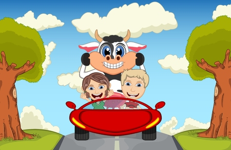 cheerful cartoon: Children driving a car on the street with cow, goat, sheep and pig cartoon vector illustration Illustration
