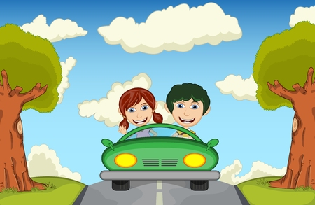 Children driving a car at the street cartoon vector illustration