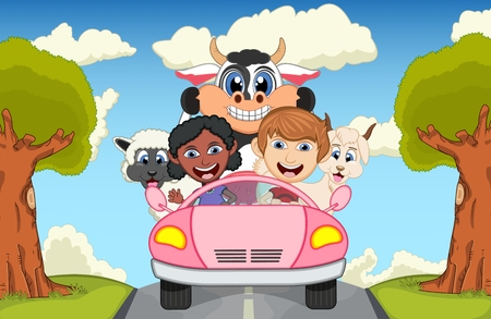 lady cow: Children driving a car on the street with cow, goat, sheep and pig cartoon vector illustration Illustration