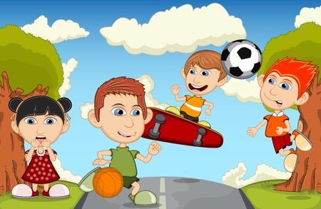 skateboard park: Children playing skateboard, basketball, jumping rope, soccer in the park cartoon vector illustration
