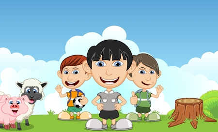 Children playing in the park with pig and sheep cartoon vector illustration