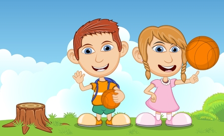 summer cartoon: Children playing in the park cartoon vector illustration Illustration