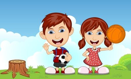 mujer hijos: Los niños que juegan en el parque de dibujos animados ilustración vectorial