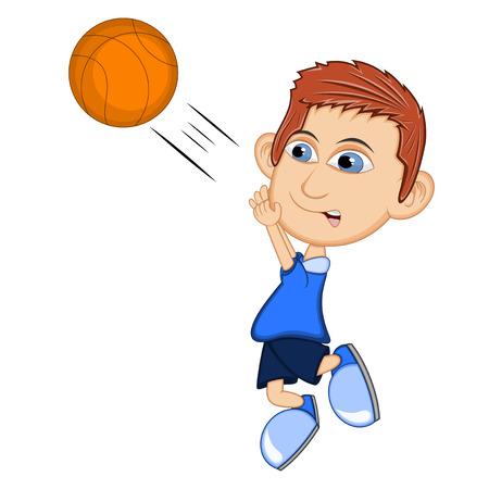boy basketball: The boy playing basketball cartoon vector illustration