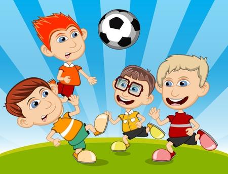niños en recreo: Niños jugando al fútbol en el parque de dibujos animados ilustración vectorial