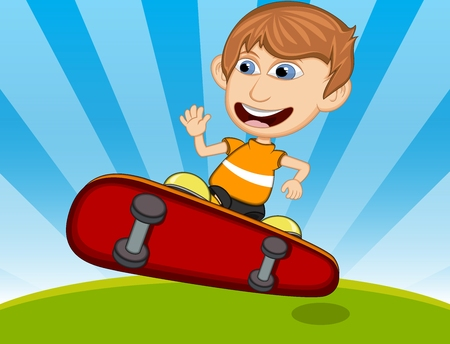little skate: Little boy playing skate board cartoon vector illustration