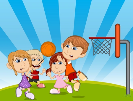 sporty: Children playing basketball on the park cartoon vector illustration