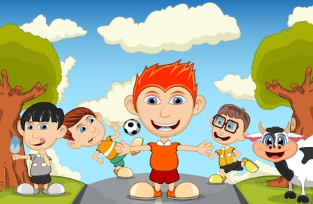 playing soccer: Children playing soccer in the park cartoon