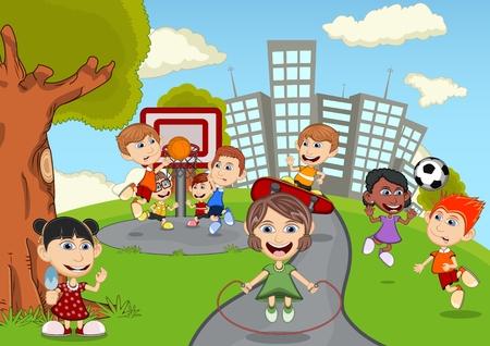baloncesto chica: Los ni�os que juegan en el parque de dibujos animados