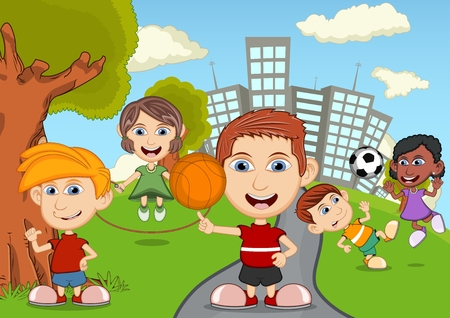 skateboard park: Children playing in the park cartoon Stock Photo