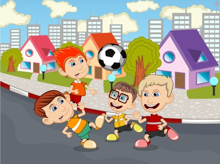playing soccer: Children playing soccer on the street cartoon