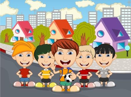 skateboard park: Children playing on the street cartoon Illustration