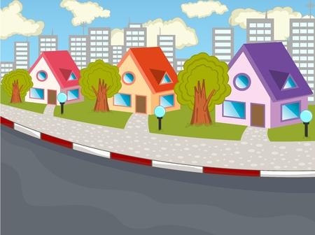 city view: City view cartoon Illustration