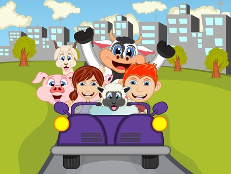 sheep road sign: Happy Child, cow, pig, sheep on a car with city background cartoon