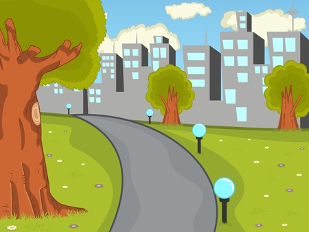 city background: Park with city background cartoon