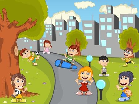 naughty girl: Cute happy cartoon kids playing in green park cartoon