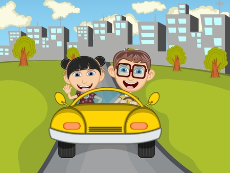 Happy Child on a car with city background cartoon Illustration