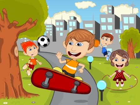 skate board: Cute happy cartoon kids playing skate board, soccer, jumping rope, running, basketball in the park cartoon Illustration