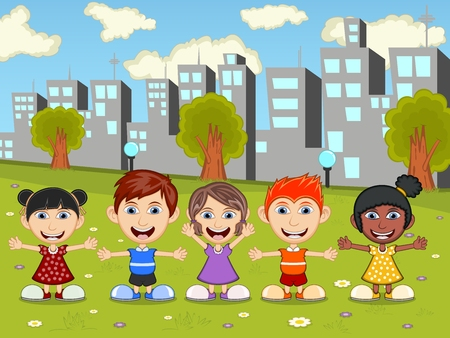 young schoolchild: Boys and girls are playing in the park cartoon