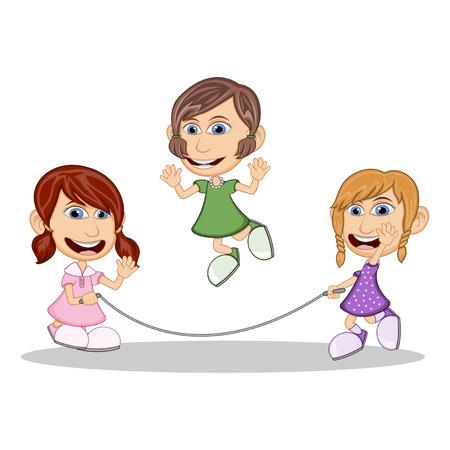 playmates: Niñas jugando dibujos animados saltar la cuerda Vectores