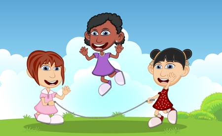 playmates: Girls playing jump rope on the park cartoon