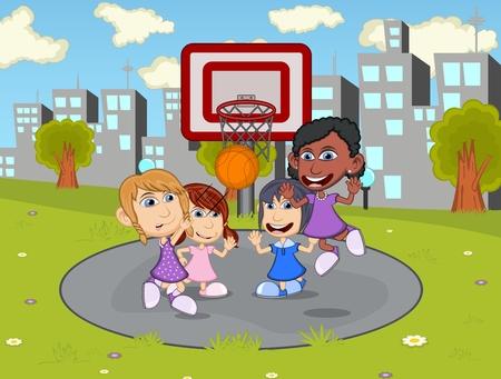 basketball cartoon: Children playing basketball in the city park cartoon