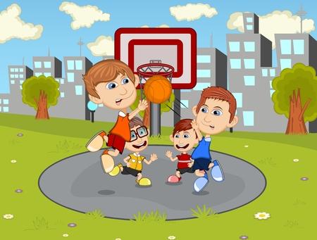 pelota caricatura: Los ni�os que juegan al baloncesto en el parque de la ciudad de dibujos animados
