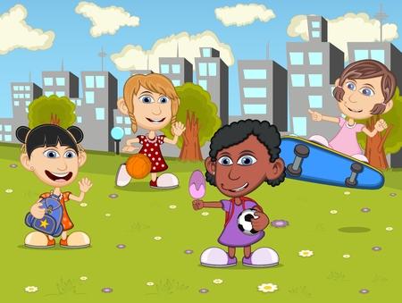 skateboard park: Little kids playing skateboard, soccer, basketball in the city park cartoon Illustration