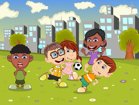 playing soccer: Little kids playing soccer on the city playground cartoon