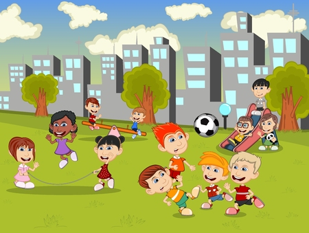 jump rope: Little kids playing slide, seesaw, jump rope and soccer in the city park cartoon