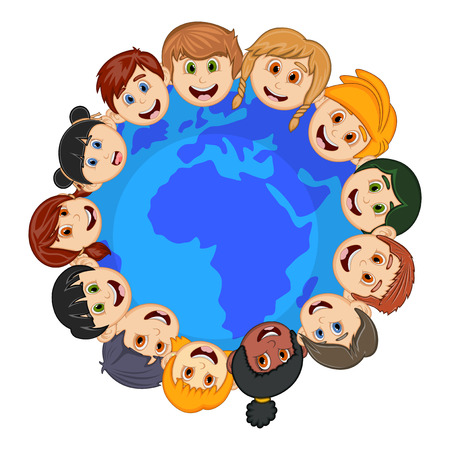 joining forces: Children around the earth cartoon