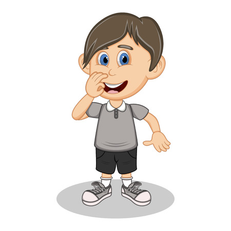 black pants: A boy with a gray shirt and black pants cartoon