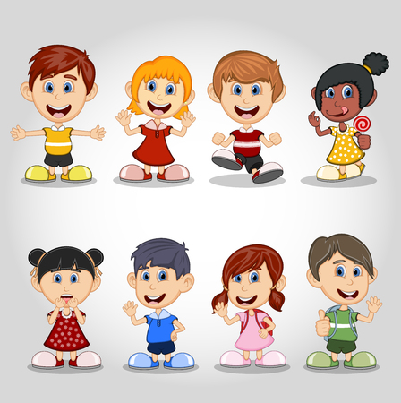 sister: Set of children cartoon
