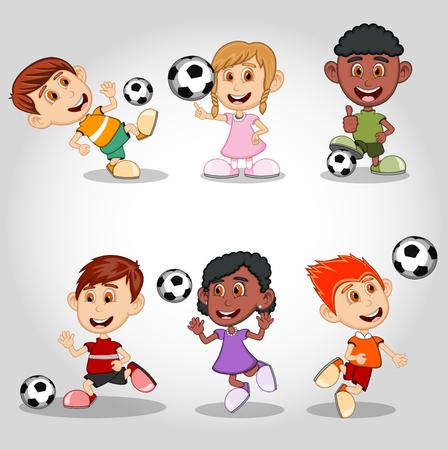 heading the ball: Set of children playing soccer cartoon