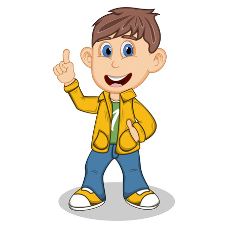 uncomfortable: Boy with yellow jacket and blue trousers point his finger cartoon