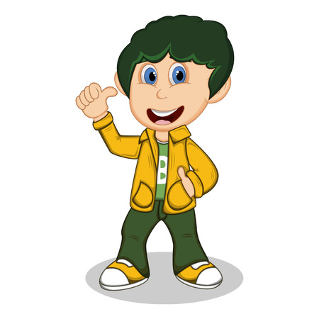 yellow jacket: Boy with yellow jacket and green trousers give a thumb up cartoon