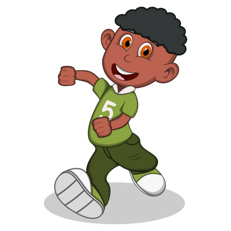 youthful: Boy with green blouse and trousers running cartoon