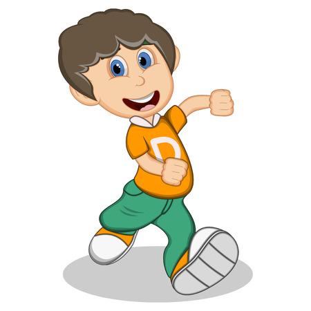 Junge mit gelben Bluse und grüne Hose läuft