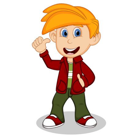 Boy with red jacket and green trousers give thumbs up cartoon 向量圖像