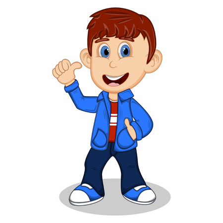 uncomfortable: Boy with blue jacket and trousers give a thumb up cartoon Illustration