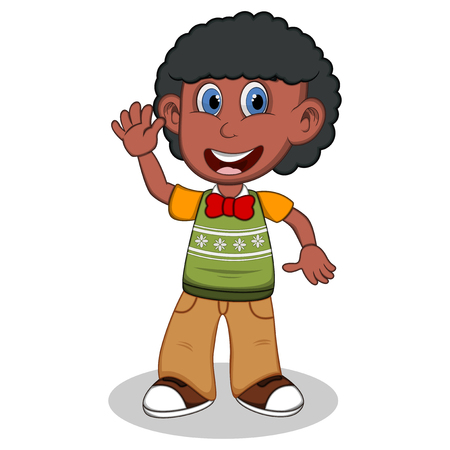 young schoolchild: Children waving his hand wearing green short sleeve sweater and creme trousers cartoon