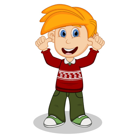 young schoolchild: Children give thumbs up wearing red long sleeve sweater and green trousers cartoon Illustration