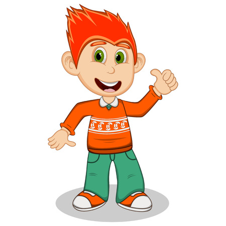 long sleeve: Children give thumbs up wearing orange long sleeve sweater and green trousers cartoon Illustration