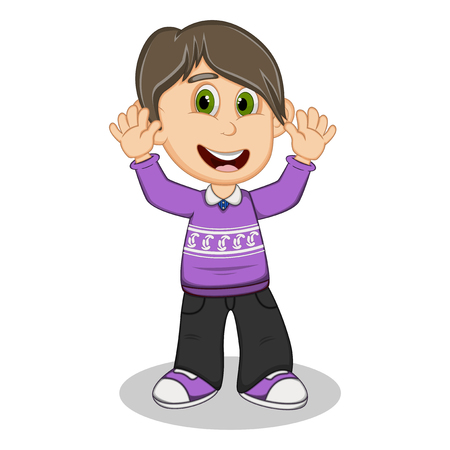 young schoolchild: Children waving his hands wearing purple long sleeve sweater and black trousers cartoon Illustration