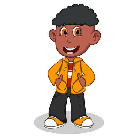 denim jacket: Little boy wearing a yellow jacket and black trousers style cartoon