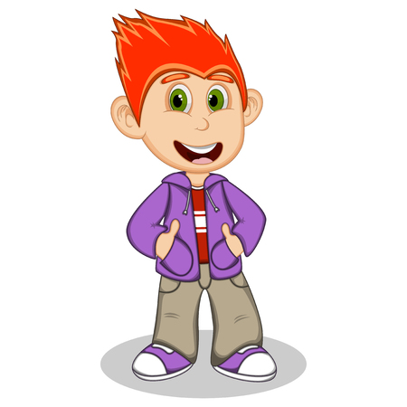 denim jacket: Little boy wearing a purple jacket and gray trousers style cartoon Illustration
